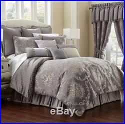 WATERFORD Madelyn QUEEN COMFORTER SET 5p Damask FLORAL Lavender Grey MANOR HOUSE
