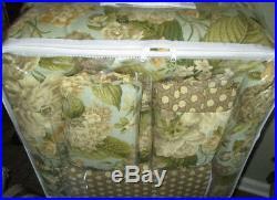WAVERLY $335 Queen Comforter Set 4P BEAUTIFUL FLORAL BLUE tan