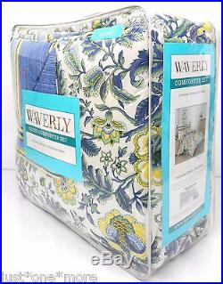 WAVERLY Imperial Dress QUEEN COMFORTER SET NWT Blue Yellow JACOBEAN FLORAL