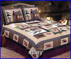 WINTER CABIN 3p Full Queen QUILT SET TIMBER BEAR PINE MOUNTAIN LODGE COMFORTER