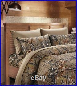 WOODLAND BROWN CAMO 7pc Queen COMFORTER SET BED IN A BAG SHEET SET WOODS HUNT