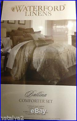 Waterford BALLINA Queen COMFORTER Pillow EURO 8PC Set Mocha Cocoa Taupe Silver
