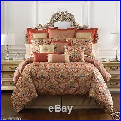 Waterford Olympia Reversible Comforter Queen 4 Pcs Set In Persimmon 1st Q NIP