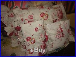 Waverly Norfolk Roses General Stripes Red Floral Cream (8pc) Full Comforter Set